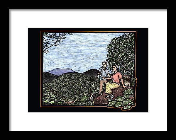 Coffee Framed Print featuring the mixed media Cafetal by Ricardo Levins Morales