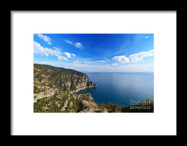 Aerial Framed Print featuring the photograph Cala Dell'oro - Italy by Antonio Scarpi