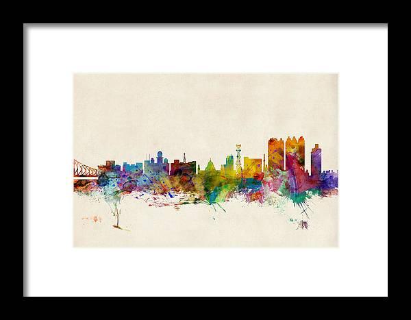 Watercolour Framed Print featuring the digital art Calcutta India Skyline by Michael Tompsett