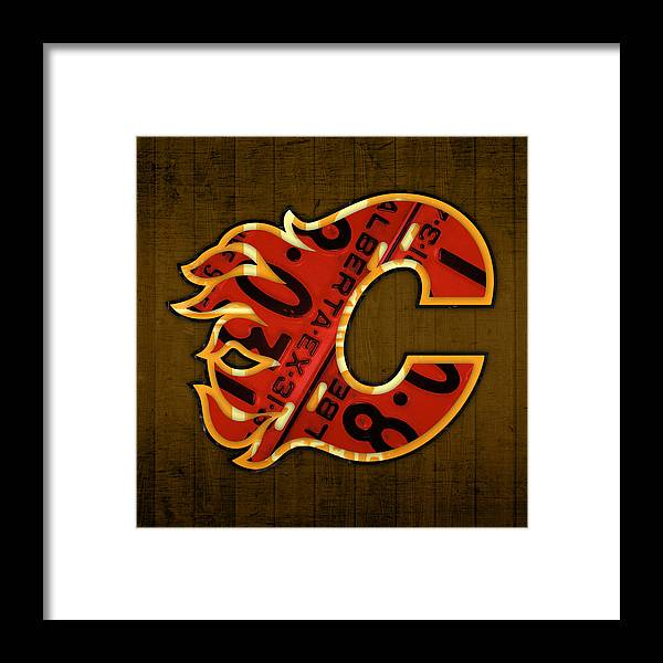 promo code e9c00 ec893 Calgary Flames Hockey Team Retro Vintage Logo Recycled Alberta Canada  License Plate Art Framed Print