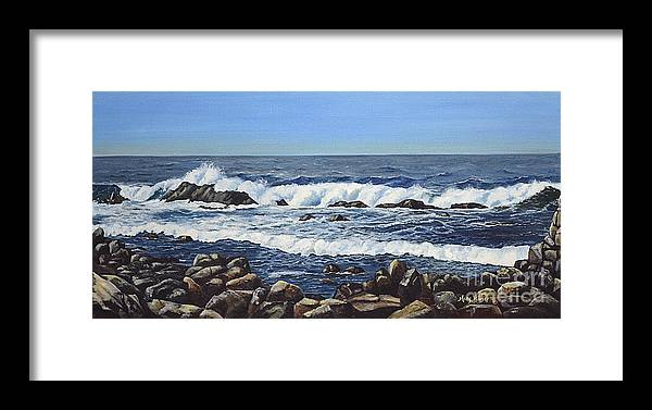 Art Framed Print featuring the painting California Coastline by Mary Rogers