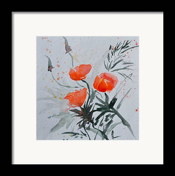 Poppy Framed Print featuring the painting California Poppies Sumi-e by Beverley Harper Tinsley