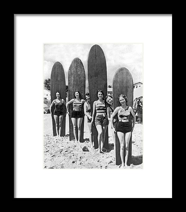 1035-515 Framed Print featuring the photograph California Surfer Girls by Underwood Archives
