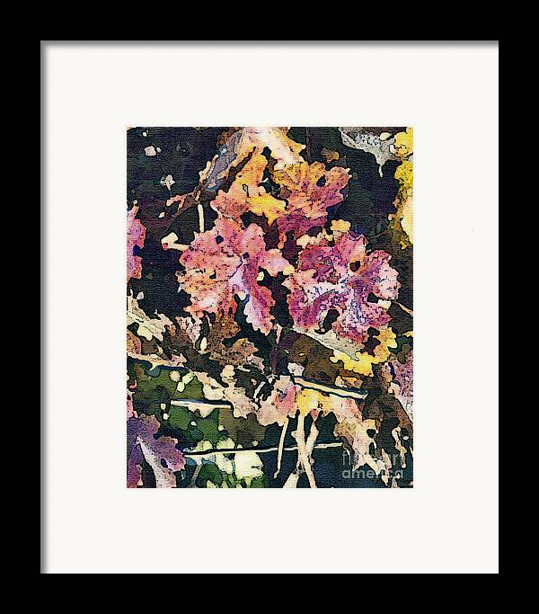 Corde Valle San Martin Ca Framed Print featuring the painting California Vineyard Series Fall Grape Leaves by Artist and Photographer Laura Wrede