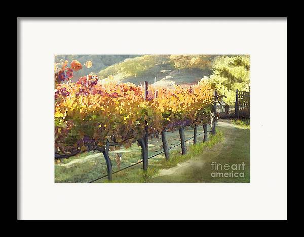 Corde Valle San Martin Ca Framed Print featuring the painting California Vineyard Series Morning In The Vineyard by Artist and Photographer Laura Wrede