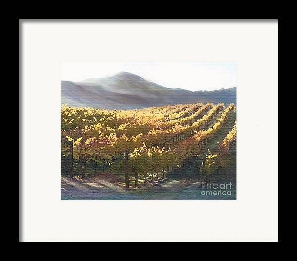 Corde Valle San Martin Ca Framed Print featuring the painting California Vineyard Series Vineyard In The Mist by Artist and Photographer Laura Wrede