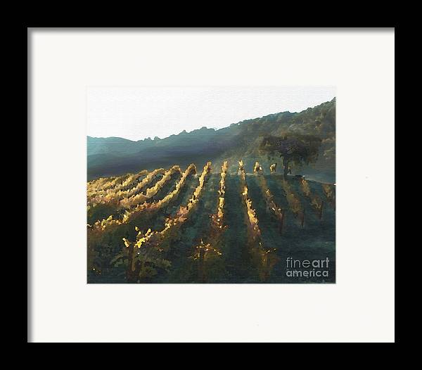 Corde Valle San Martin Ca Framed Print featuring the painting California Vineyard Series Wine Country by Artist and Photographer Laura Wrede
