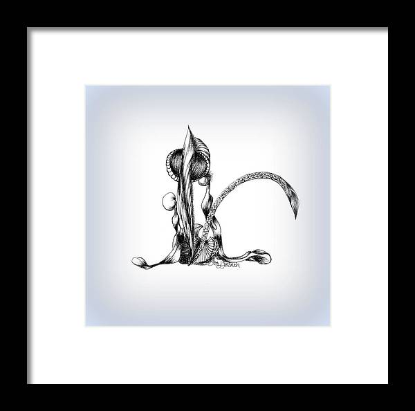 Ink Framed Print featuring the drawing Calla Lily Between Two Lives by Mademoiselle Francais