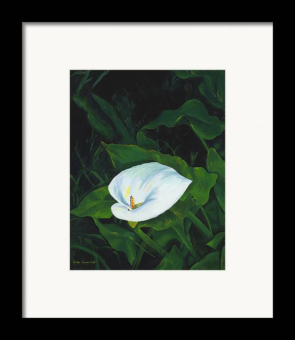 Calla Lily Framed Print featuring the painting Calla Lily In The Garden Of Diego And Frida by Judy Swerlick