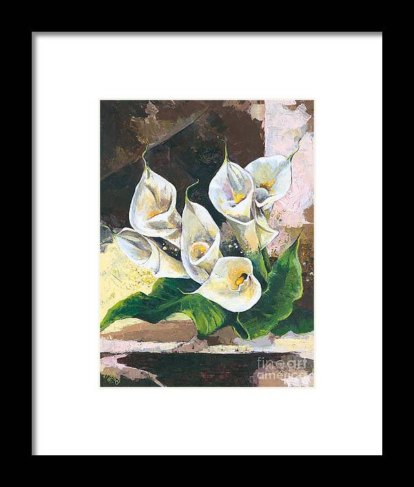 Canvas Prints Framed Print featuring the painting Callas by Elisabeta Hermann