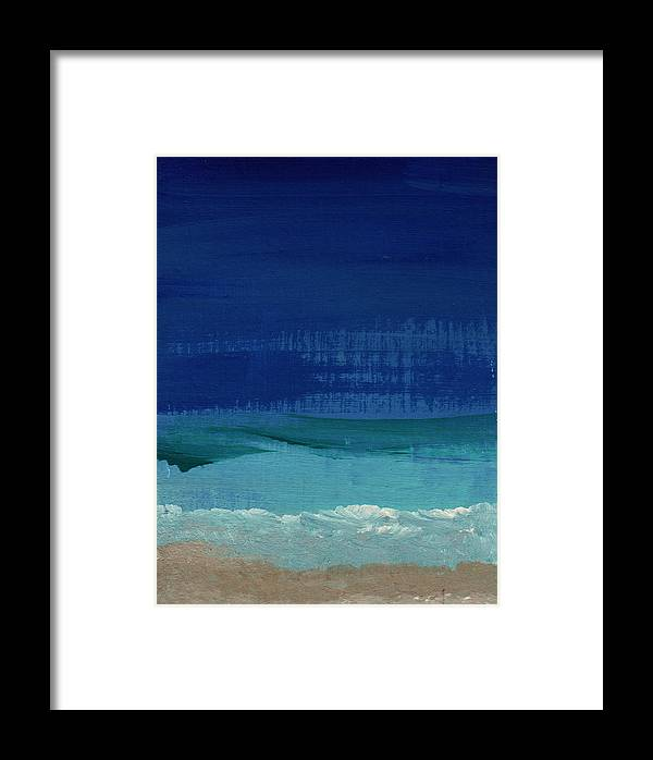 Abstract Art Framed Print featuring the painting Calm Waters- Abstract Landscape Painting by Linda Woods