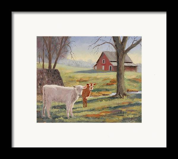 Landscape Framed Print featuring the painting Calves At The Spring House by Tommy Thompson