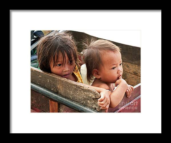 Cambodia Framed Print featuring the photograph Cambodian Children 03 by Rick Piper Photography