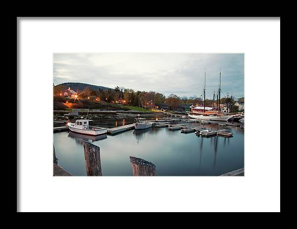 Camden Framed Print featuring the photograph Camden Harbor, Maine At Twighlight by Chris Bennett