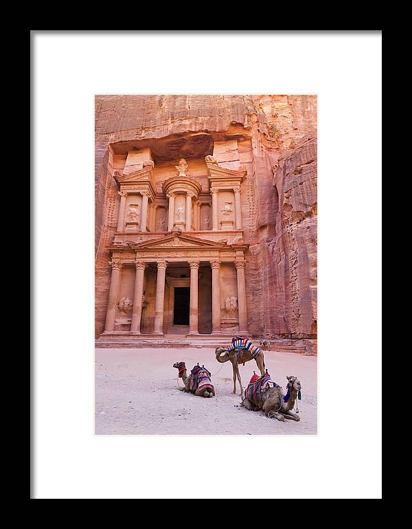 Al Khazneh Framed Print featuring the photograph Camel At The Facade Of Treasury (al by Keren Su