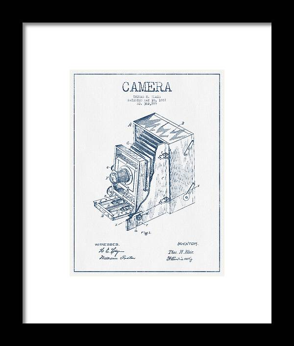 Camera Framed Print featuring the digital art Camera Patent Drawing From 1887 - Blue Ink by Aged Pixel