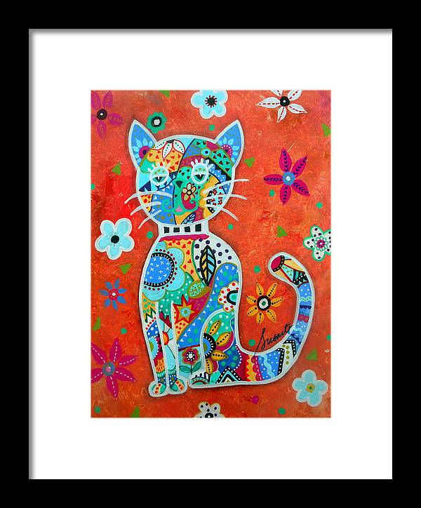 Cat Framed Print featuring the painting Camo El Gato by Pristine Cartera Turkus