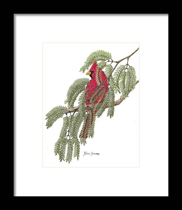 Cardinal Framed Print featuring the drawing Camouflage? by Julie Stubbs