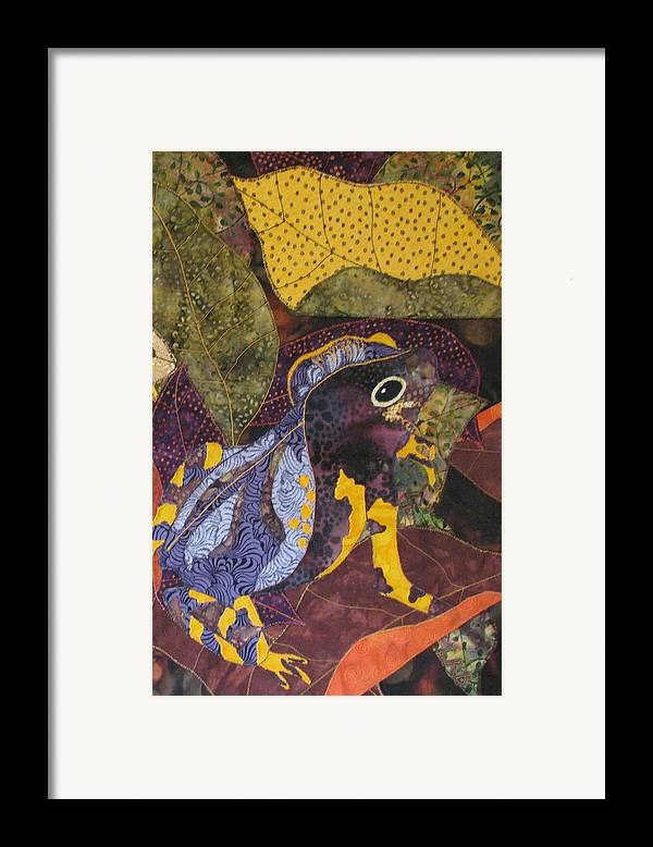 Nature Tapestries Textiles Framed Print featuring the tapestry - textile Camouflaged Forest Toad by Lynda K Boardman