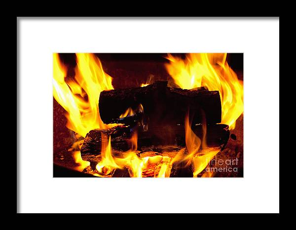 Fire Framed Print featuring the photograph Campfire Burning by Bryan Mullennix