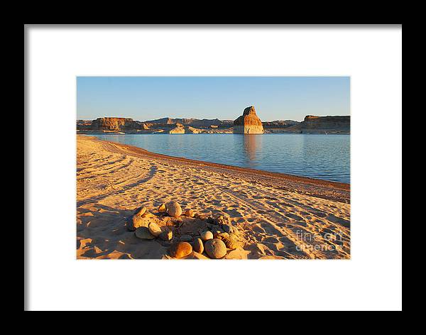 Lake Powell Framed Print featuring the photograph Campfire Ring On Lone Rock Beach by Kate Sumners