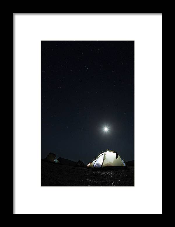 Camping Framed Print featuring the photograph Camping On The Beach Under The Moon And by Anna Henly
