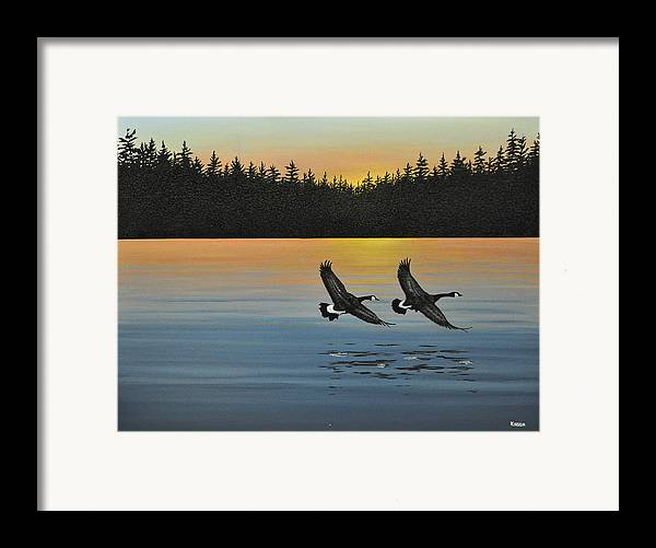 Canada Geese. Bireds Framed Print featuring the painting Canada Geese by Kenneth M Kirsch