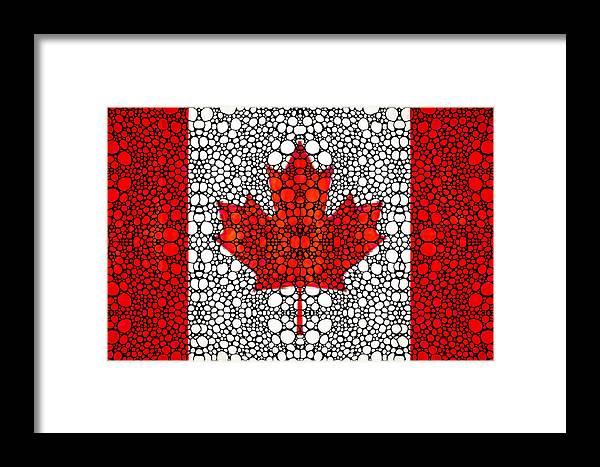 Canadian Flag Canada Stone Rockd Art By Sharon Cummings Framed Print