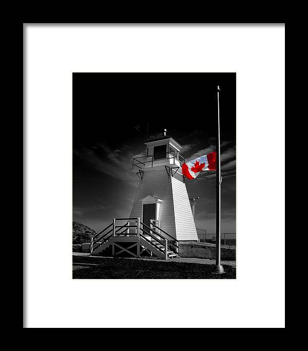 Banner Framed Print featuring the photograph Canadian Flag Half-mast by Steve Hurt