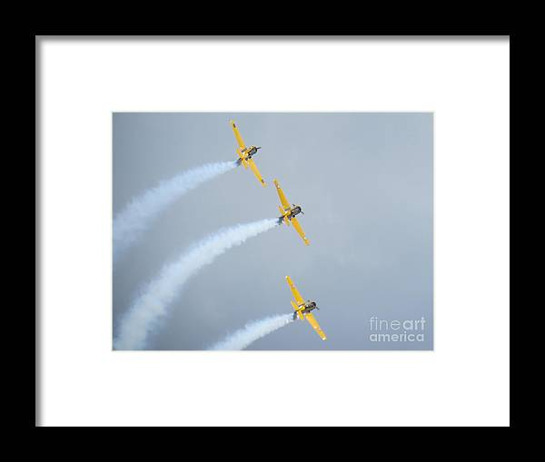 Aerobatic Flying Team Framed Print featuring the photograph Canadian Flying Trio by Brenda Ketch