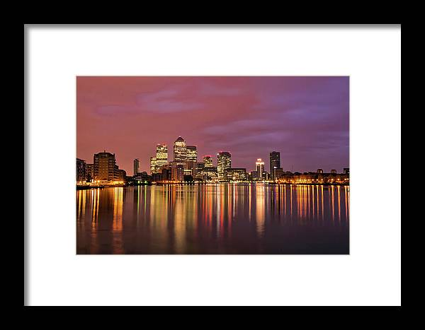 Tranquility Framed Print featuring the photograph Canary Wharf Sunrise Down The Thames by Esslingerphoto.com