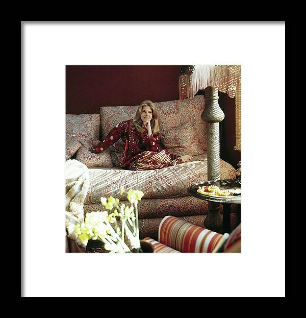 Home Framed Print featuring the photograph Candace Bergen In Caftan by Henry Clarke