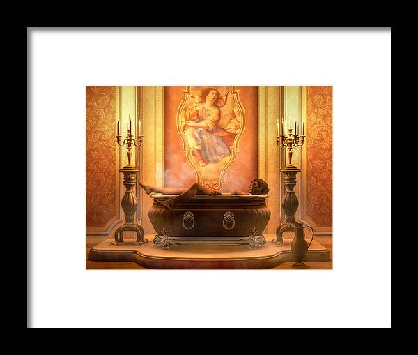 Nude Bather Framed Print featuring the digital art Candle Lit Bath by Kaylee Mason