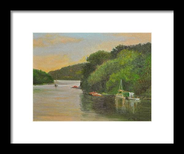 Landscape Framed Print featuring the painting Candlewood Lake Late Afternoon by Phyllis Tarlow