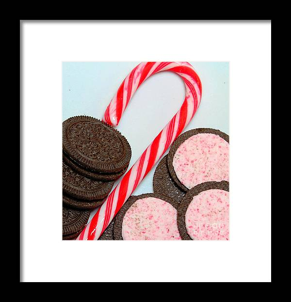 Candy Cane Framed Print featuring the photograph Candy Cane - Cookies - Sweets by Barbara Griffin