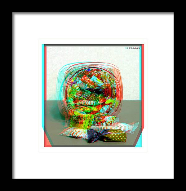 3d Framed Print featuring the photograph Candy Jar - Use Red-cyan Filtered 3d Glasses by Brian Wallace