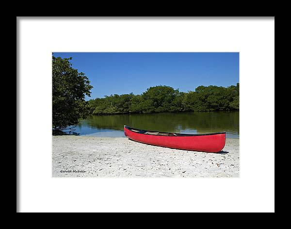 Canoe Framed Print featuring the photograph Canoe And Beach by Gerald Marella