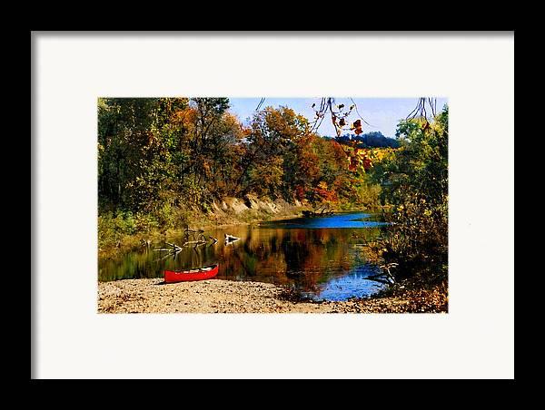 Autumn Framed Print featuring the photograph Canoe On The Gasconade River by Steve Karol