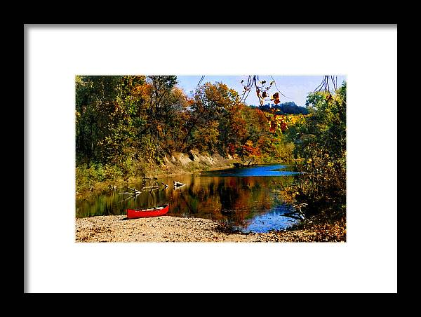 Autumn Framed Print featuring the photograph Canoe On The Gasconade River by Steve Karol