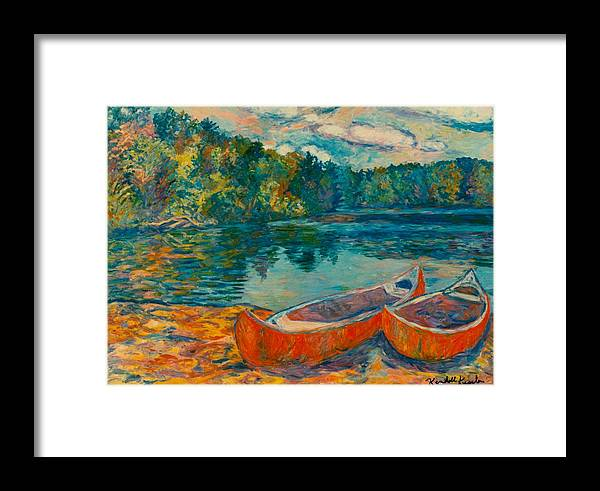 Landscape Framed Print featuring the painting Canoes At Mountain Lake by Kendall Kessler
