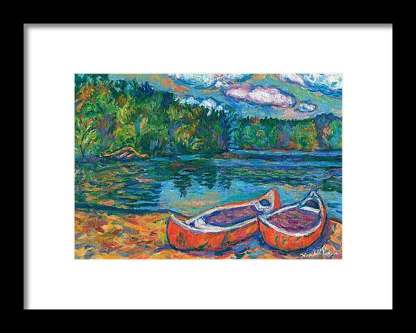 Landscape Framed Print featuring the painting Canoes at Mountain Lake Sketch by Kendall Kessler