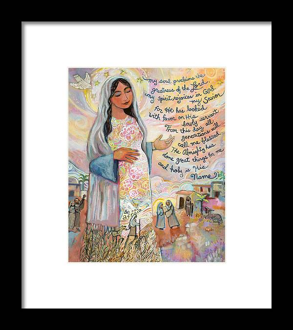 Jen Norton Framed Print featuring the painting Canticle of Mary by Jen Norton