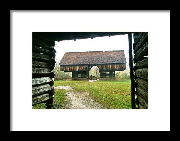Barn Framed Print featuring the photograph Cantilever Barn In Smokey Mtn Natl Pk by Bj Hodges
