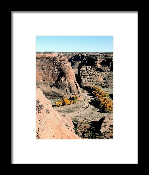 Canyon De Chelly Navajo Nation Indian Reservation Arizona Spectacular Natural Bluffs Mesa Southwest Southwestern Vista Old West Territory Ansel Adams Location America American Usa United States Gordon Beck Fine Art Framed Print featuring the photograph Canyon De Chelly Arizona by Gordon Beck