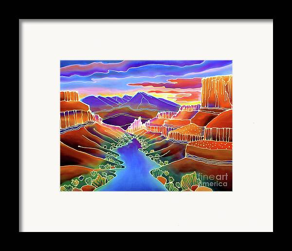Sw Framed Print featuring the painting Canyon Sunrise by Harriet Peck Taylor