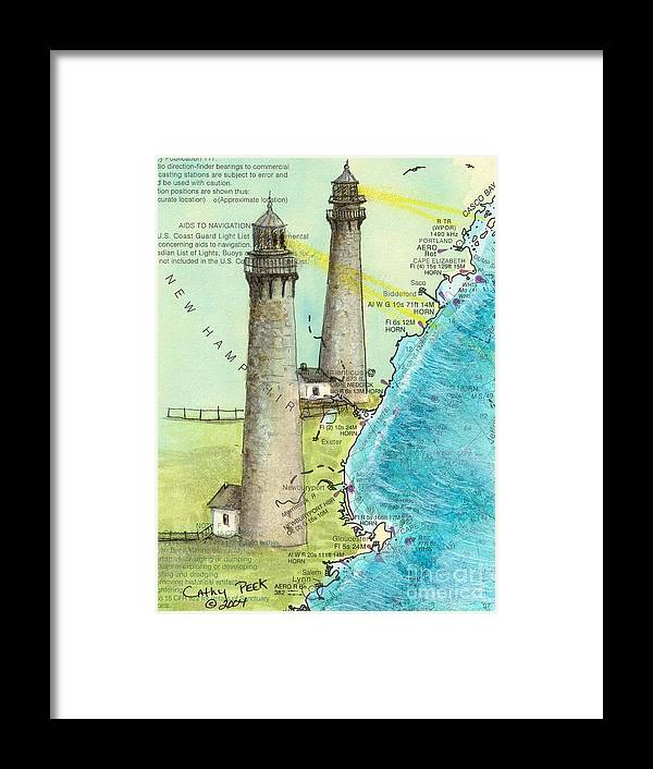Cape Framed Print featuring the painting Cape Ann Twin Lighthouses Ma Nautical Chart Map Art Cathy Peek by Cathy Peek