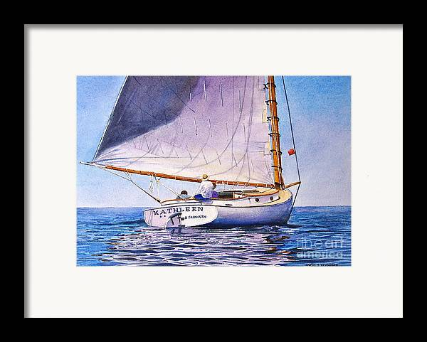 Sail Framed Print featuring the painting Cape Cod Catboat by Karol Wyckoff