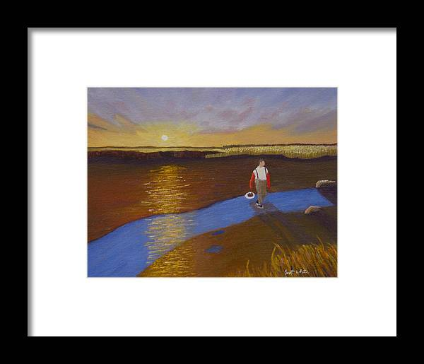 Sunset Framed Print featuring the painting Cape Cod Clamming by Scott W White