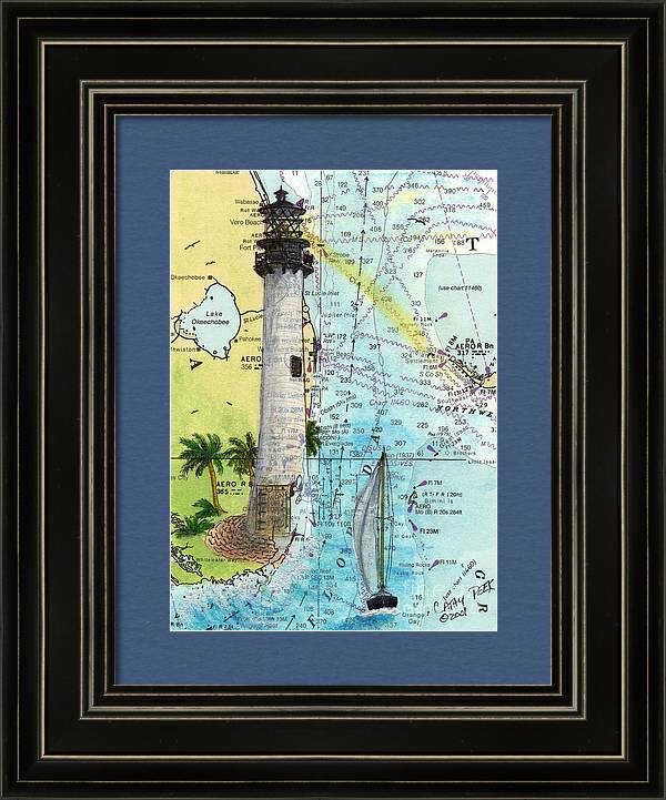 Cape Florida Lighthouse Nautical Chart Map Art by Cathy Peek