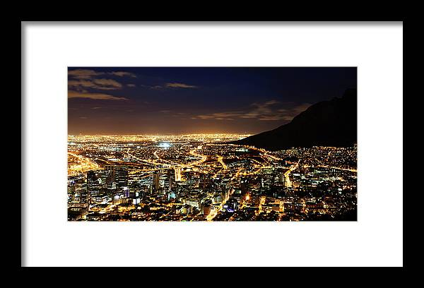 Scenics Framed Print featuring the photograph Cape Town, South Africa By Night by Clicknique